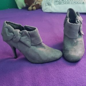"3"" grey faux suede booties"